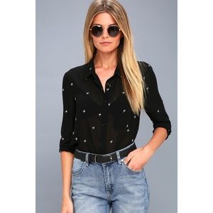 Asher Embroidered Black Long Sleeve Top